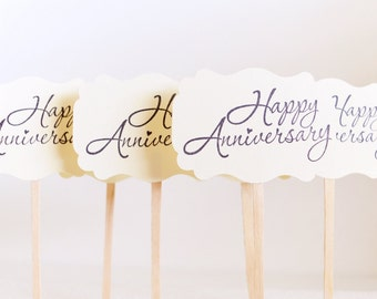 Cupcake Toppers - Happy Anniversary Picks - Wedding Anniversary Cupcakes - Dessert Picks - 50th Anniversary Picks - Cupcake Decorations