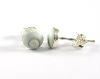 6 mm. Natural Shiva Eye Shell with 925 Sterling Silver Post Stud Earrings