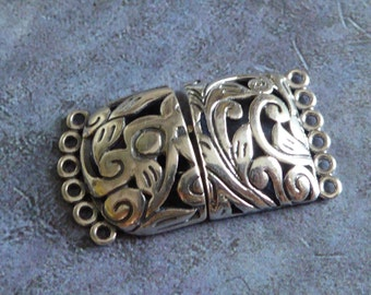 Sterling Silver Swirly Multiple Strands Clasp ~ Large 6 Strands Clasp