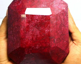 3.063KG - 15260Ct Certified Natural Big Emerald Cut Red Ruby Gemstone (150mmx75mmx140mm)