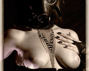 Art of Fetish female lingerie gas mask sepia fine ART photography PRINT - Wanted - 8
