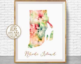 Rhode Island Map Art Print Rhode Island Art Rhode Island Print Map Print Map Poster Watercolor Map Office Decor Office Poster ArtPrintZone