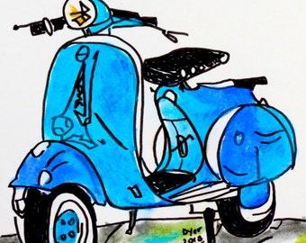 Turquoise blue vintage Vespa