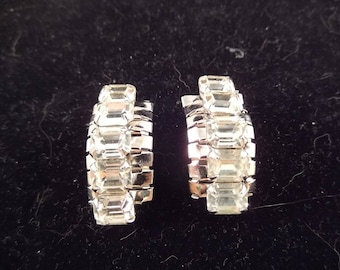 Brilliantly Clear Rhinestone Clip On Earrings that are Curved, Silver Tone Metal