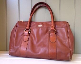 Vintage Handbag Liz Claiborne Brown Leather Purse Versatile Practical Fashion Accessory