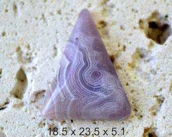Lavendar lace agate triangle cabochon. 18.5 x 23.5 x 5.1