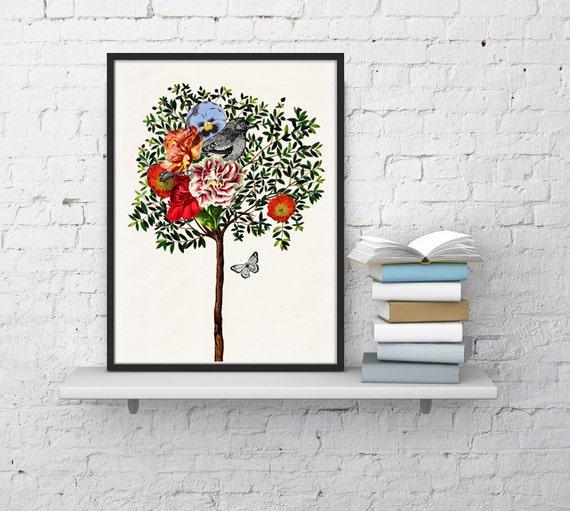 Wall art print Beautiful Tree with Bird collage birds & flowers print- Giclee print wall decor, Nursery Art gift ANI220WA4
