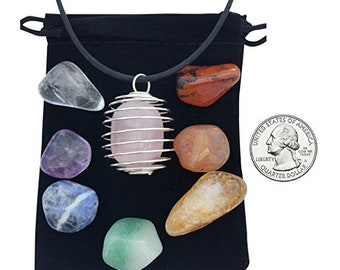 7 Chakra Stone Set with Rose Quartz and Cage Necklace - Healing Crystals and Stones