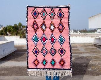Boucherouite Rug #316 - Beautiful Boucherouite Cotton Moroccan Rug, Vintage Rug, Bohemian Rug, Tribal Rug, Berber Rug, Boho Rug