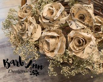 One Dozen Paper Roses from Vintage Sheet Music, Decorative Paper Flower Bouquet, Wedding Floral Centerpiece, Music Studio Home Decor