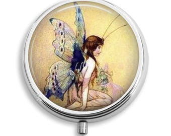 Fairy With Iridescent Wings Pill Box Case Trinket Box Vitamin Holder Medicine Box Mint Tin Gifts For Her