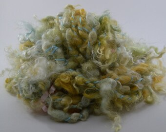 Bulky Handspun Yarn -Art yarn - Lockspun in Golden Yellow with Green