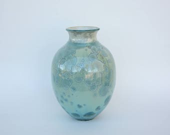 Aqua Crystalline Bottle Vase