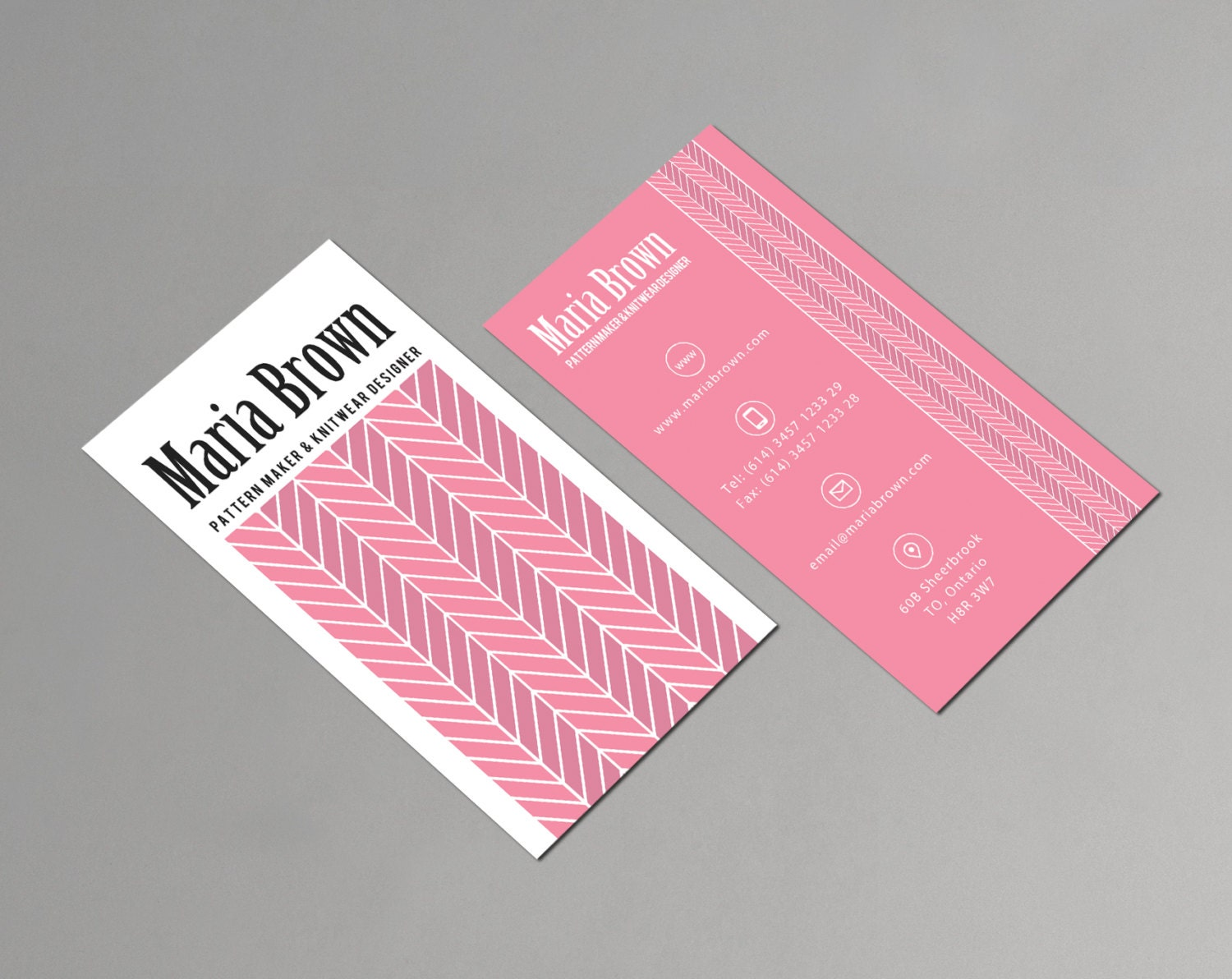 Fashion Designer Business Card Template Printable Vertical