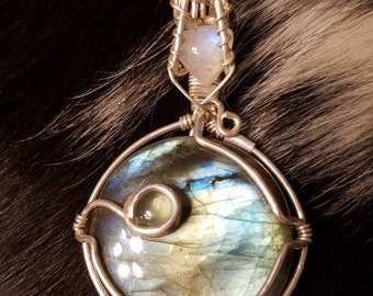 Labradorite Moonstone and Aquamarine Pendant in Sterling Silver Necklace
