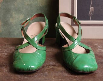 Green Patent leather Shoes 60 's
