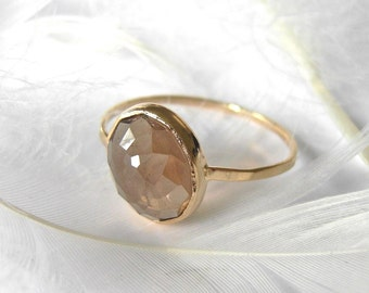 Smoky Quartz Stacker Ring, Stackable ring, Handmade with recycled 14k Gold, Wedding ring or Anniversary gift