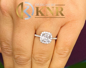 Women's 14k solid white gold cushion cut forever one moissanite and natural round cut diamond engagement ring Bridal Wedding Halo 2.20ctw