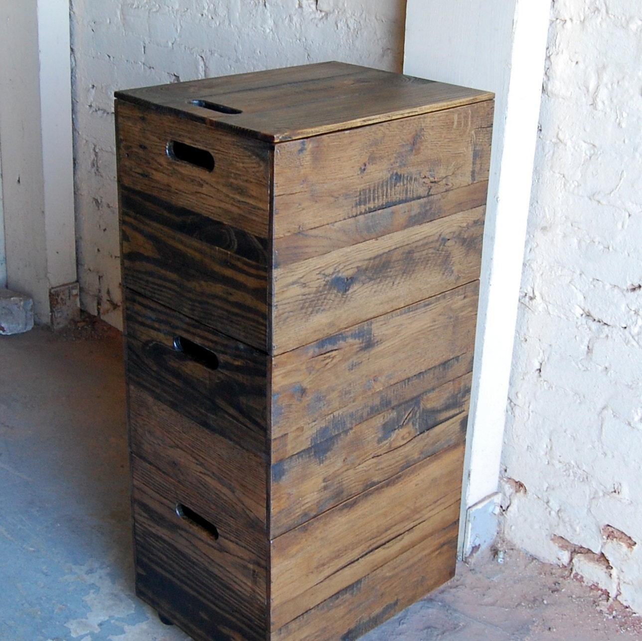 Wood File Cabinet/ Triple Stacking / File Crate/ Office Furniture/ Portable  File Storage