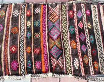 Vintage Handwoven Handmade Turkish Antique Wall Decor Kilim Sack -28''x48'' inch %100 WOOL - FAST SHIPMENT -
