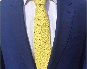The Hayward Skinny Tie/ Wedding Tie / Groomsman Tie / Mens Cotton Tie / Yellow Tie / Skinny Tie