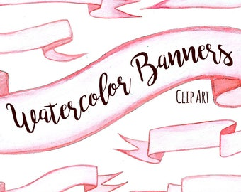 Pink Valentine Watercolor Banner Ribbon Clip Art, Ribbon Clipart, DIGITAL DOWNLOAD, Hand Painted Banners, Individual Files, Pink Ribbon Art