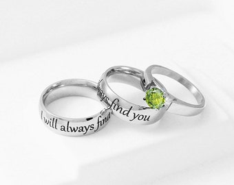 Snow Charming Engagement Ring I Will Always Find You Stainless Steel CZ Wedding Ring Set, Snow White Engagement Ring