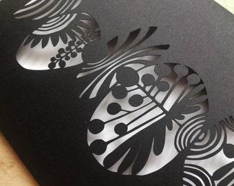silent eternity (paper cut folded 5x8 inch card)