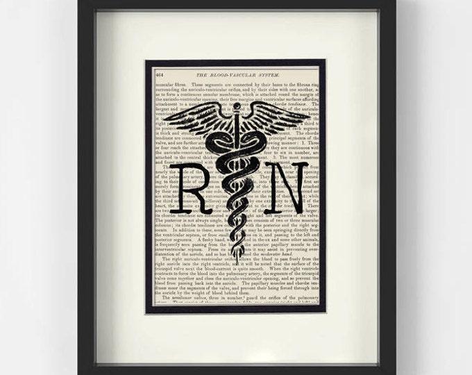 Featured listing image: RN Registered Nurse over Vintage Medical Book Page