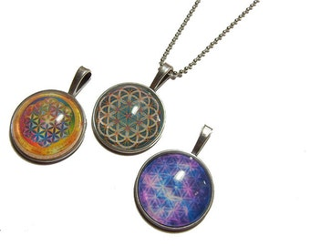 Lot of 3 - Flower of Life Pendants - Group 1 - 1 Inch Photo Pendant with 24 inch Ball Necklace