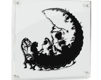 Alice in Wonderland Mad Hatter Tea Party Art Storybook Fairy Tale Paper cut Lewis Carroll March Hare Geek Gift Disney Art Home Decor FRAMED