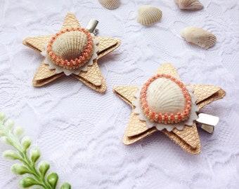 Shell Hairpins, Set of Two Hairpins, Starfish Hairpins, Baby Girl Hairpins, Adult Hairpins, Teen Hairpins, Alligator Clips, Beach Wedding