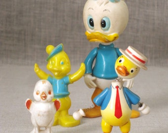 Vintage Collection of Toy Ducks, Birds, Characters, Donald Duck, Water Birds, Figures, Grouping, Wood, Plastic, Chick, Dressed in Clothes