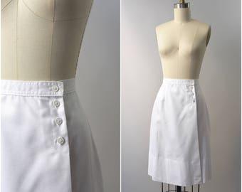 1970's white wrap nautical a-line skirt • xs