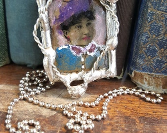 SALE - OOAK Gem Tintype Hand Tinted Soldered Necklace from Rustysecrets