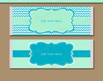 Baby Shower Chocolate Bar Wrappers, Printable Candy Wrapper Template, Mint Turquoise Party Favors, EDITABLE Bridal Shower Candy Wrappers BB1