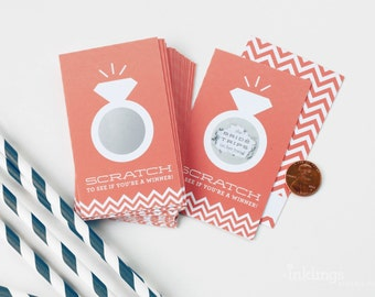 SALE! 24 Scratch Off Cards for Bridal Shower or Bachelorette Game // Coral
