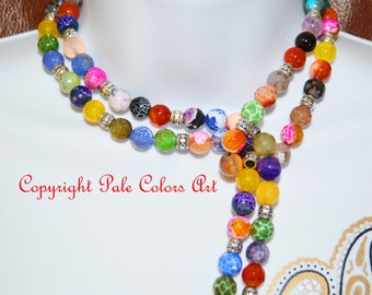 """48"""" Lariat Necklace,Double Wrap Necklace,Gemstone Lariat,Long Lariat,Boho,Bohemian,Colorful,Beaded Lariat,Double Wrap Lariat Stone Necklace"""