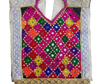 Indian Vintage Neck Yoke Embroidery OF Beads Work And Mirror work Handmade Applique Patch Sewing craft, fabric neck yoke, banjara neck yoke