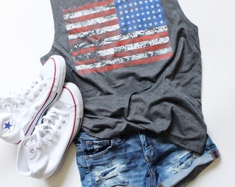 American Flag Flowy Muscle Tank - 4th of July Tank - Patriotic Tank - Independence Day Tank - Memorial Day Tank
