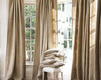 100 % Natural Jute Burlap Panel Drape Backdrop Window Curtains - 2 pc Set Made in USA