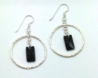 Center of the Universe, Sterling Silver, Hoops, Textured Metal, Swarovski Crystal, Black, Chain