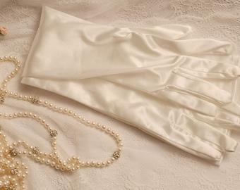 Ivory long gloves, ivory elbow long gloves, ivory satin gloves, ball gloves, ivory evening gloves, wedding gloves, bride ivory gloves 17inch