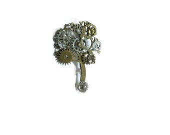 Steampunk Brooch ,  Pin Gear Brooch  ,  Cog Steampunk Pin , Victorian Steampunk Brooch , Tree Steampunk Brooch