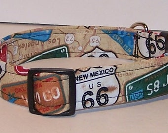 Get Your Kicks on Route 66 Dog Collar Travel License Plates