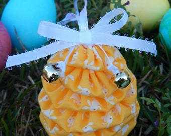Adorable White Bunnies on Yellow Yo Yo Egg Ornament