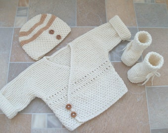 newborn set, baby boy hospital clothes, coming home outfit, knitted ivory sweater, hat and booties, babyboy cotton sweater, newborn clothes