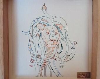 Cyberpunk Lion - inktober illustration