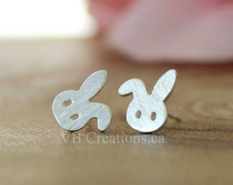 Little Rabbit Studs Earrings - Rabbit Jewelry - Easter Gift - Stainless Steel - Sterling Silver - Tiny Earrings - Dainty Earrings - Bunny