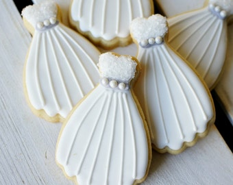 Wedding Dress Decorated Sugar Cookies - One Dozen
